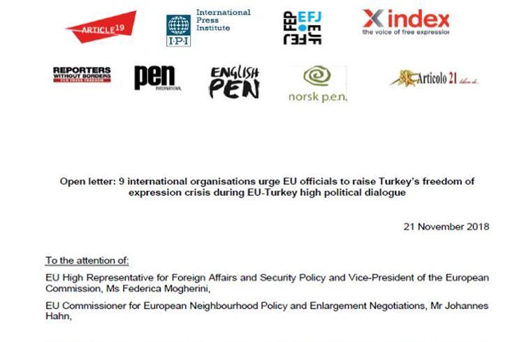 Organizaciones internacionales instan a Mogherini y Hahn a que aborden la libertad de expresión durante su visita a Turquía
