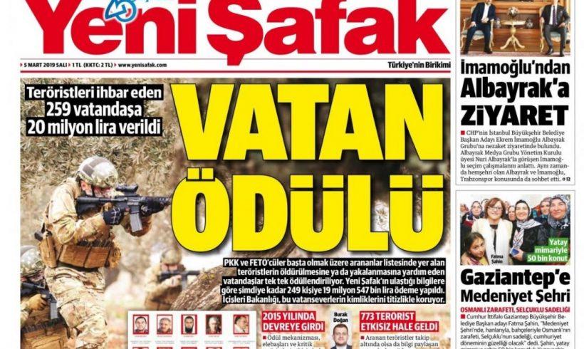 """""""Turquía recompensó con 3,5 millones de dólares a informantes que proporcionaron información que facilitó el arresto o la muerte de gulenistas y miembros del PKK"""""""