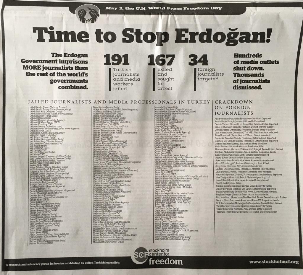 Stockholm Center for Freedom: «¡Es hora de parar a Erdogan!»